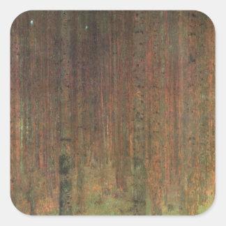 Gustav Klimt - Kiefern-Wald Quadratischer Aufkleber