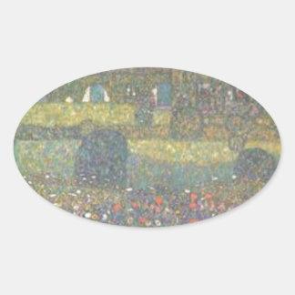 Gustav Klimt - Landhaus durch die Attersee Kunst Ovaler Aufkleber