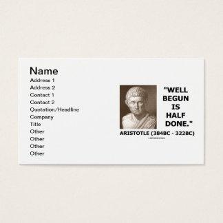 Gut angefangener Aristoteles ist Hälfte erfolgtes Visitenkarte