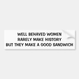 Gut benommene Frauen machen ein gutes Sandwich Autoaufkleber