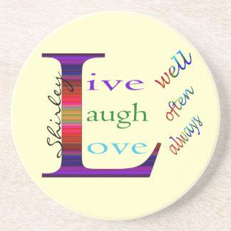 Gut, lebt Lachen häufig, Liebe immer durch STaylor Getränkeuntersetzer