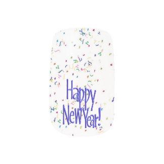 Guten Rutsch ins Neue Jahr - blauer Text auf Minx Nagelkunst