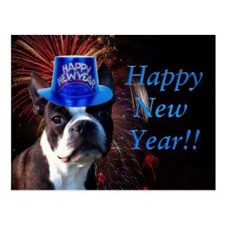 Guten Rutsch ins Neue Jahr-Boston-Terrierpostkarte Postkarten