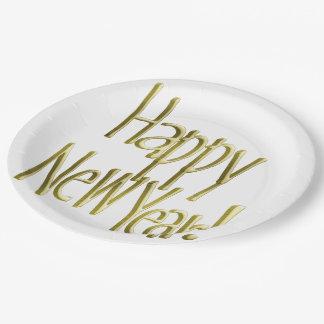Guten Rutsch ins Neue Jahr - Goldtext (addieren Pappteller