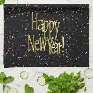 Guten Rutsch ins Neue Jahr - Goldtext auf Küchentuch