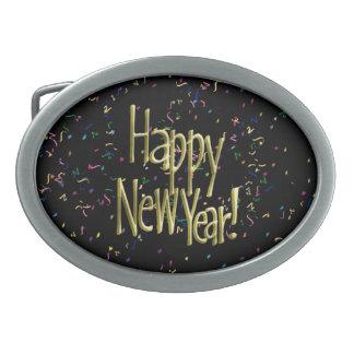 Guten Rutsch ins Neue Jahr - Goldtext auf Ovale Gürtelschnallen
