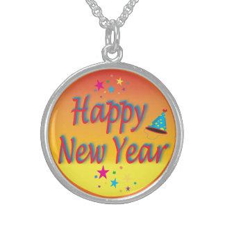 Guten Rutsch ins Neue Jahr-Orange Sterlingsilber Halsketten