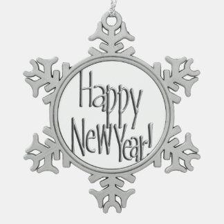 Guten Rutsch ins Neue Jahr - silberner Text Schneeflocken Zinn-Ornament