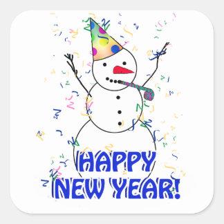 Guten Rutsch ins Neue Jahr vom feiernden Quadratischer Aufkleber