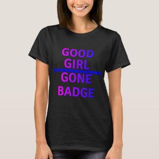 Gutes Mädchen gegangene Abzeichen-dünn blaue Linie T-Shirt