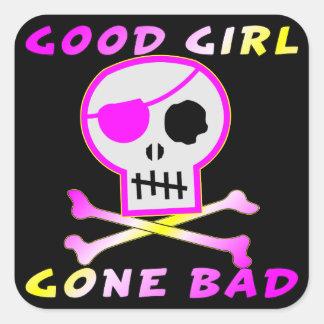 Gutes Mädchen gegangener schlechter Quadratischer Aufkleber