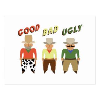 Gutes schlechtes hässliches postkarte
