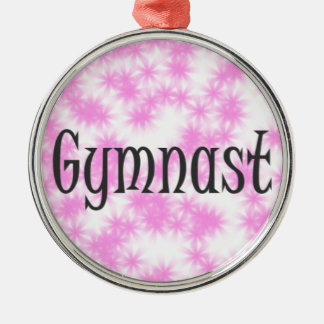 Gymnast Rundes Silberfarbenes Ornament