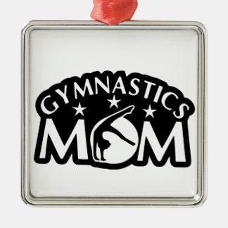 Gymnastics_Mom Quadratisches Silberfarbenes Ornament