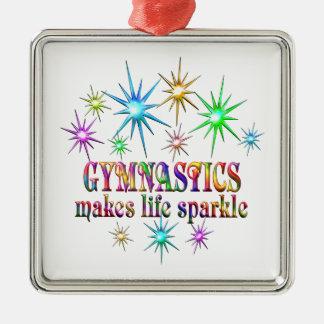 Gymnastik-Glitzern Quadratisches Silberfarbenes Ornament