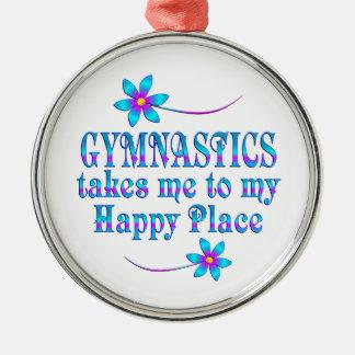 Gymnastik mein glücklicher Platz Rundes Silberfarbenes Ornament
