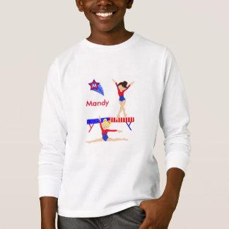 Gymnastik sleeved lang das T-Shirt, das rot ist, T-Shirt
