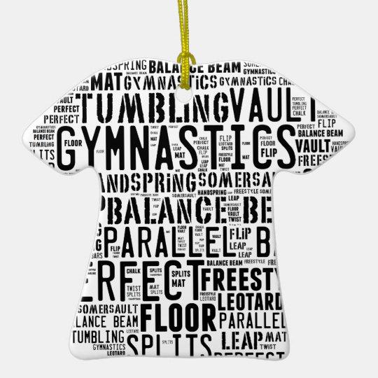 Gymnastik-Wort-Wolke Keramik T-Shirt-Ornament