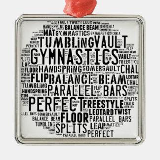 Gymnastik-Wort-Wolke Quadratisches Silberfarbenes Ornament