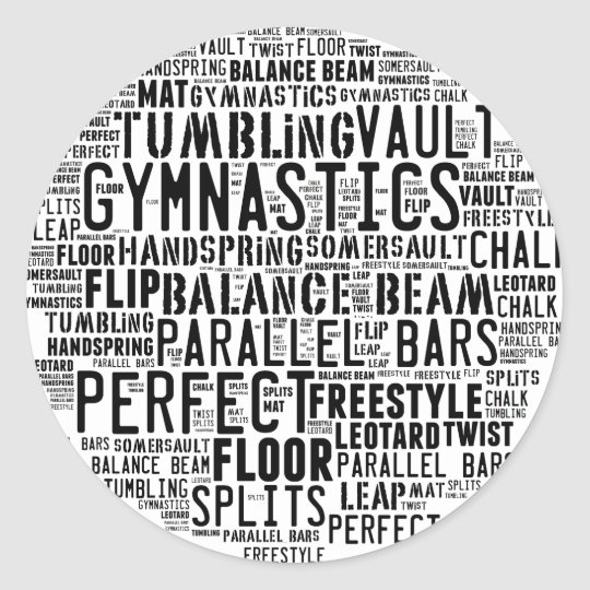 Gymnastik-Wort-Wolke Runder Aufkleber