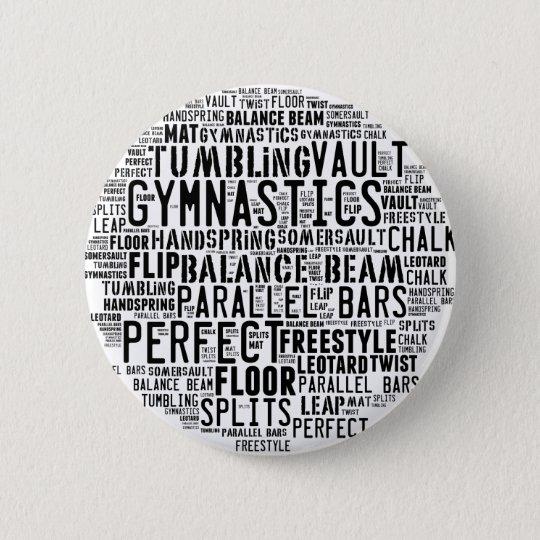 Gymnastik-Wort-Wolke Runder Button 5,1 Cm