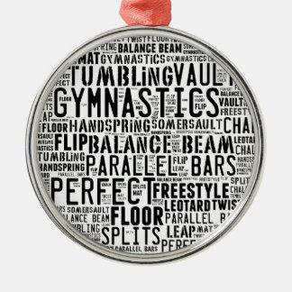 Gymnastik-Wort-Wolke Rundes Silberfarbenes Ornament