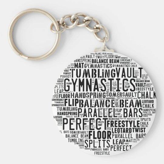 Gymnastik-Wort-Wolke Standard Runder Schlüsselanhänger