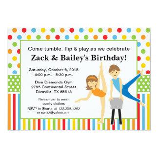 Gymnastisches Jungen-und Mädchen-Geburtstags-Party 12,7 X 17,8 Cm Einladungskarte