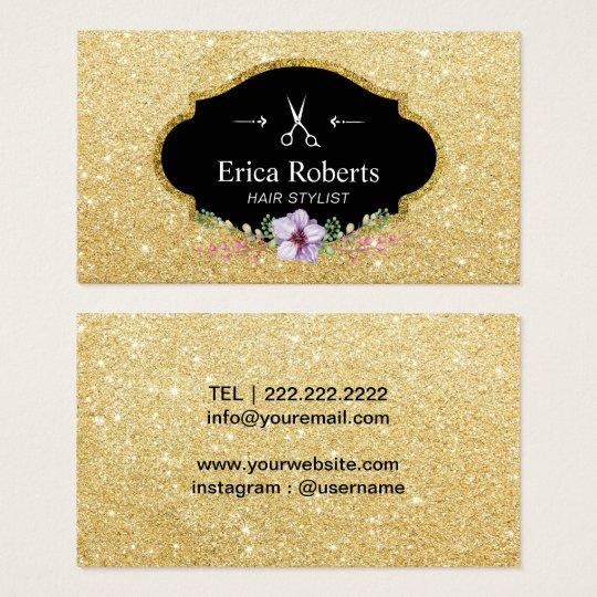 Haar-Stylist-moderner GoldGlitter-elegantes Blumen Visitenkarte