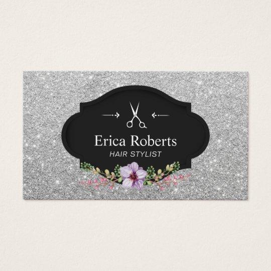 Haar-Stylist-modernes silbernes Glitter-Haar Slon Visitenkarte