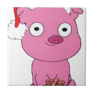 Haben Sie ein rosa Schwein veganes Weihnachten Fliese