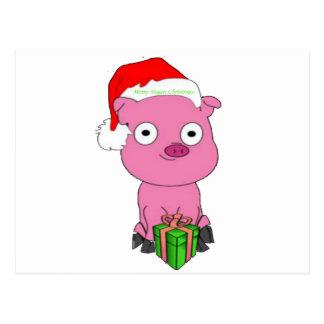Haben Sie ein rosa Schwein veganes Weihnachten Postkarte