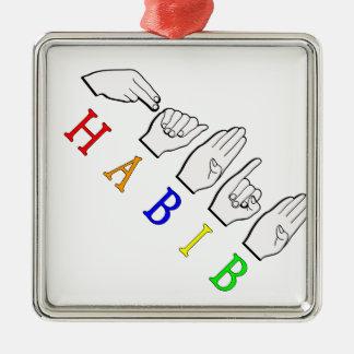 HABIB FINGERSPELLED ASL NAMENSzeichen Quadratisches Silberfarbenes Ornament