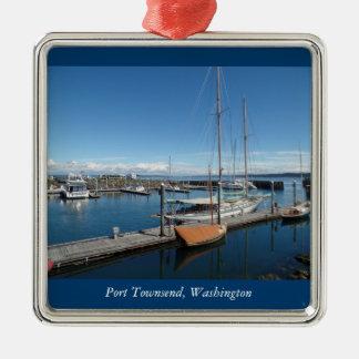 Hafen Townsend Washington Ozean-Boots-Ansicht Quadratisches Silberfarbenes Ornament