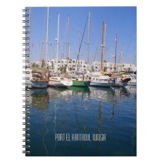Hafen-Ufergegend-Boote Tunesien Hafen-EL Kantaoui Spiral Notizblock