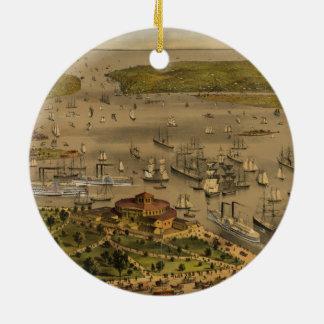 Hafen von New York durch Ives im Jahre 1878 Keramik Ornament