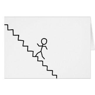 Haften Sie den Mann, der oben die Treppengrußkarte Karte