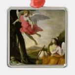 Hagar et Ishmael secourus par l'ange, c.1648 Ornement Carré Argenté