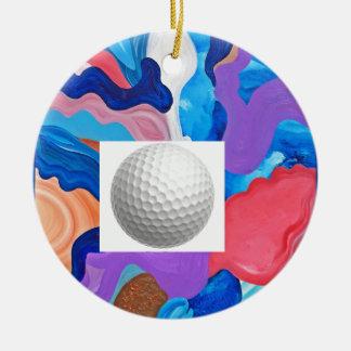 Hahn-Golfball Rundes Keramik Ornament