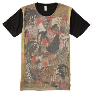 Hahn-japanisches Kunst-Hahn-Jahr-Shirt 2017 T-Shirt Mit Bedruckbarer Vorderseite