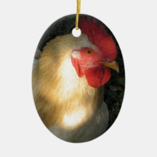 Hahn Ovales Keramik Ornament