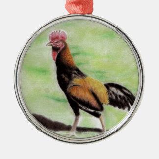 Hahn Rundes Silberfarbenes Ornament