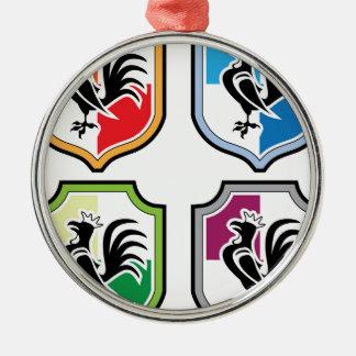 Hahn-Schild-Logo Rundes Silberfarbenes Ornament