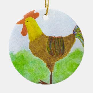 Hahn-Verzierung Rundes Keramik Ornament