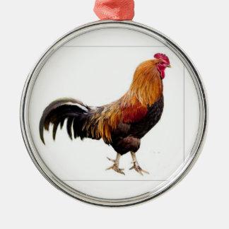 Hahn-Verzierung Rundes Silberfarbenes Ornament