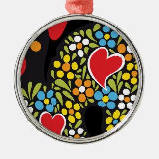 Hahn von Barcelos nahem hohem Rundes Silberfarbenes Ornament