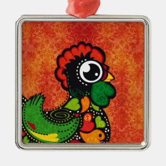 Hahn von Barcelos - Vintager Hintergrund Quadratisches Silberfarbenes Ornament