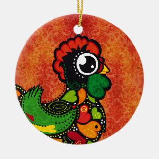 Hahn von Barcelos - Vintager Hintergrund Rundes Keramik Ornament