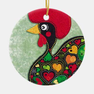 Hahn von Portugal Rundes Keramik Ornament