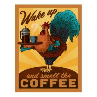 Hahn - wachen Sie auf und riechen Sie den Kaffee Postkarten